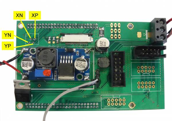 Touchscreen Pin Assignment on the Adapterboard
